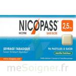 NICOPASS MENTHE FRAICHEUR 2,5 mg SANS SUCRE, pastille édulcorée à l'aspartam et à l'acésulfame potassique à Carbon-Blanc