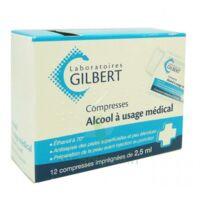 ALCOOL A USAGE MEDICAL GILBERT 2,5 ml Compr imprégnée 12Sach à Carbon-Blanc