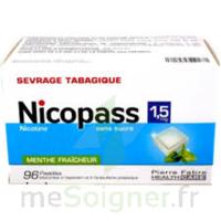 NICOPASS 1,5 mg Past sans sucre menthe fraîcheur Plq/96 à Carbon-Blanc